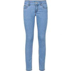 """Dżinsy ze stretchem SKINNY bonprix niebieski """"bleached"""". Zielone jeansy damskie skinny marki bonprix, w kropki, z kopertowym dekoltem, kopertowe. Za 99,99 zł."""