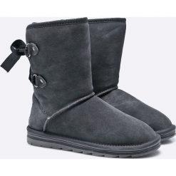 Marco Tozzi - Botki. Szare buty zimowe damskie marki Marco Tozzi, z materiału, z okrągłym noskiem, na obcasie. W wyprzedaży za 199,90 zł.