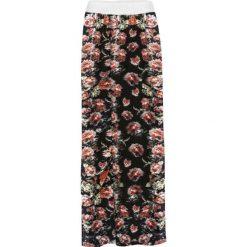 Długie spódnice: Spódnica z rozporkiem bonprix czarny w kwiatowy wzór