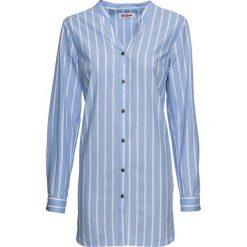 Bluzki damskie: Długa  bluzka bonprix perłowy niebieski - biały w paski