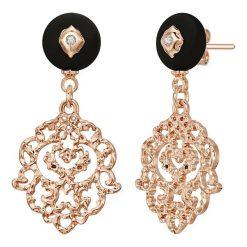 Biżuteria i zegarki: Pozłacane kolczyki-wkrętki z kryształkami Swarovskiego