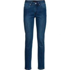 """Dżinsy SKINNY ze szczypankami, długość do kostki bonprix niebieski """"medium denim"""". Niebieskie jeansy damskie marki bonprix, z nadrukiem. Za 99,99 zł."""