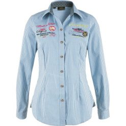 Bluzka ludowa, długi rękaw bonprix biało-błękitny w kratę. Białe bluzki asymetryczne bonprix, z długim rękawem. Za 59,99 zł.