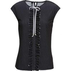 Bluzki damskie: Bluzka shirtowa bonprix czarno-biały w kropki