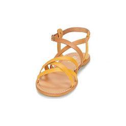 Sandały So Size  DITRON. Żółte sandały damskie marki Kazar, ze skóry, na wysokim obcasie, na obcasie. Za 259,00 zł.