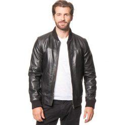 Kurtki męskie bomber: Skórzana kurtka w kolorze czarnym