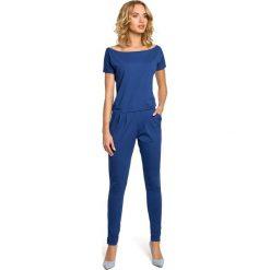 JORDAN Elastyczny gładki kombinezon - spodnium z krótkimi rękawami  - jeansowy. Niebieskie kombinezony damskie Moe, z jeansu, z krótkim rękawem, krótkie. Za 154,90 zł.