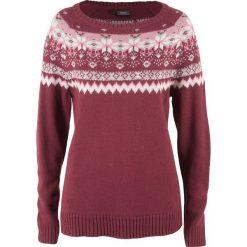 Swetry klasyczne damskie: Sweter w żakardowy wzór bonprix bordowy wzorzysty