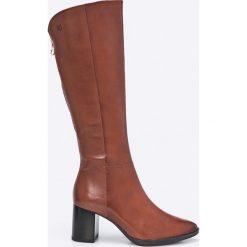 Caprice - Kozaki. Brązowe buty zimowe damskie Caprice, z materiału, z okrągłym noskiem, na obcasie. W wyprzedaży za 329,90 zł.