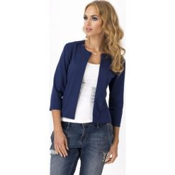 Odzież damska: Granatowy Dresowy Żakiet Marynarka Bez Zapięcia
