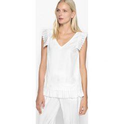Bluzki asymetryczne: Gładka bluzka z dekoltem w serek i z krótkim rękawem