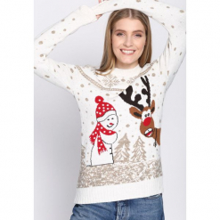 Kremowy Sweter Encyclopedic. Białe swetry klasyczne damskie Born2be, l, z dresówki, z okrągłym kołnierzem. Za 99,99 zł.
