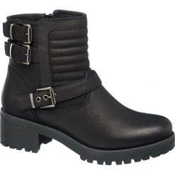 Botki damskie Graceland czarne. Czarne botki damskie na obcasie Graceland, z jeansu, rockowe. Za 111,00 zł.