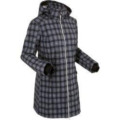 Długa kurtka softshell z polarem barankiem bonprix czarny w kratę. Czarne bomberki damskie bonprix, z polaru. Za 239,99 zł.