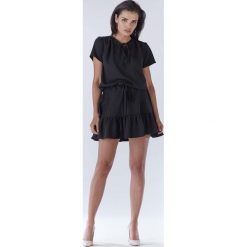 Czarna Mini Sukienka w Stylu Boho z Krótkim Rękawem. Niebieskie sukienki boho marki bonprix, na spacer, na lato, w koronkowe wzory, z bawełny, dopasowane. Za 139,90 zł.