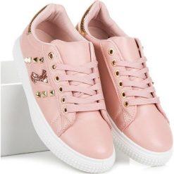 Modne trampki na wiązanie MERG różowe. Białe trampki i tenisówki damskie marki Merg. Za 49,90 zł.