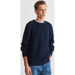 Sweter z wełną - Granatowy. Niebieskie swetry klasyczne męskie marki Cropp, l. Za 199,99 zł.