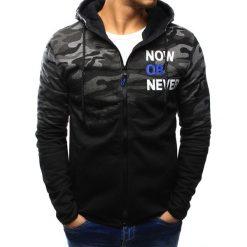 Bluzy męskie: Bluza męska camo rozpinana czarno-grafitowa z kapturem (bx3126)