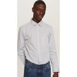 Koszule męskie na spinki: Koszula w żakardową kratę – Granatowy