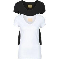 T-shirt damski z dekoltem w serek (2 szt.) bonprix biały + czarny. Białe t-shirty damskie bonprix, z dekoltem w serek. Za 49,98 zł.
