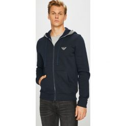 Emporio Armani - Bluza. Szare bluzy męskie rozpinane marki Emporio Armani, l, z nadrukiem, z bawełny, z okrągłym kołnierzem. Za 569,90 zł.
