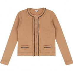 """Kardigan """"Emelie"""" w kolorze karmelowym. Brązowe kardigany damskie marki Ateliers de la Maille, z aplikacjami, z kaszmiru. W wyprzedaży za 636,95 zł."""