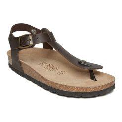Sandały damskie: Skórzane sandały w kolorze ciemnobrązowym