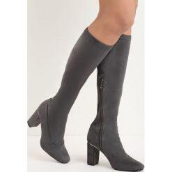 Ciemnoszare Kozaki No Pressure. Szare buty zimowe damskie marki Born2be, przed kolano, na wysokim obcasie, na słupku. Za 79,99 zł.