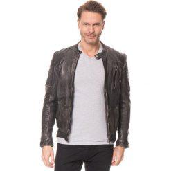 Kurtki męskie bomber: Skórzana kurtka w kolorze antracytowym