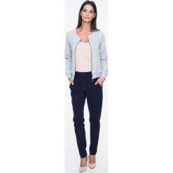 Bluzy rozpinane damskie: Szara Bluza Bomber na Suwak