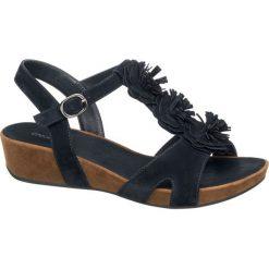 Sandały damskie Graceland granatowe. Czarne sandały damskie marki Graceland, w kolorowe wzory, z materiału. Za 99,90 zł.