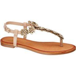 Sandały damskie Graceland złote. Czarne sandały damskie marki Graceland, w kolorowe wzory, z materiału. Za 89,90 zł.
