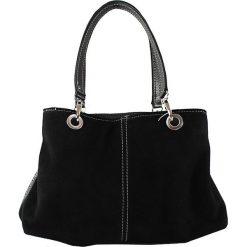 Torebki i plecaki damskie: Skórzana torebka w kolorze czarnym – 32 x 20 x 14 cm