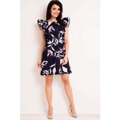 Granatowa Casualowa Sukienka Mini w Kwiaty. Czerwone sukienki mini marki Mohito, l, z materiału, z falbankami. Za 119,90 zł.