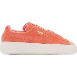 Trampki na platformie Ps Suede Platform Glam. Czerwone buty sportowe dziewczęce marki Puma, z materiału, na sznurówki. Za 377,96 zł.