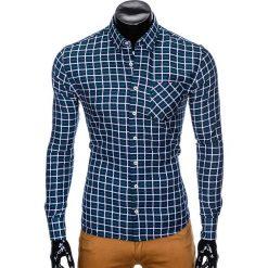 KOSZULA MĘSKA W KRATĘ Z DŁUGIM RĘKAWEM K429 - GRANATOWA/ZIELONA. Brązowe koszule męskie na spinki marki Ombre Clothing, m, z aplikacjami, z kontrastowym kołnierzykiem, z długim rękawem. Za 59,00 zł.