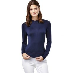 Sweter w kolorze granatowym. Niebieskie swetry klasyczne damskie marki Vincenzo Boretti, xs, z dzianiny, ze stójką. W wyprzedaży za 152,95 zł.