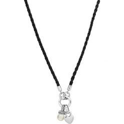 Naszyjniki damskie: Skórzany naszyjnik w kolorze czarnym z zawieszką – dł. 60 cm