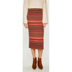 Answear - Spódnica Nomad. Szare spódniczki dzianinowe ANSWEAR, l, z podwyższonym stanem, midi, dopasowane. W wyprzedaży za 69,90 zł.