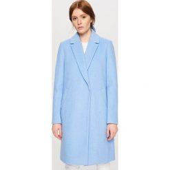 Płaszcz z wełną - Niebieski. Niebieskie płaszcze damskie wełniane marki Reserved. W wyprzedaży za 149,99 zł.