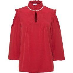 Bluzka z perełkami bonprix czerwony chili. Czarne bluzki z odkrytymi ramionami marki bonprix, z koronki. Za 89,99 zł.