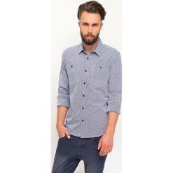 KOSZULA DŁUGI RĘKAW MĘSKA. Szare koszule męskie slim marki Top Secret, m, w kratkę, z długim rękawem. Za 59,99 zł.