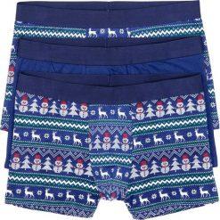 Bokserki z bożonarodzeniowym motywem (3 pary) bonprix niebiesko-biały z nadrukiem. Niebieskie bokserki męskie marki bonprix, z nadrukiem. Za 53,97 zł.
