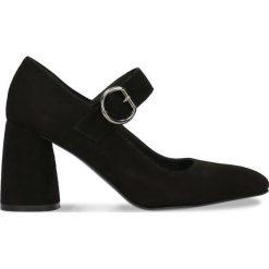 Czółenka HARUMI. Czarne buty ślubne damskie Gino Rossi, w geometryczne wzory, ze skóry, na wysokim obcasie, na słupku. Za 189,90 zł.