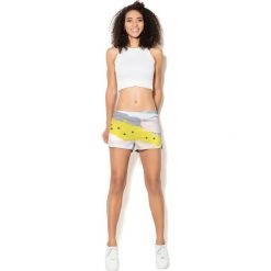 Spodnie damskie: Colour Pleasure Spodnie damskie CP-020 26 biało-żółte r. 3XL/4XL