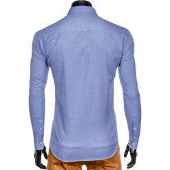 KOSZULA MĘSKA Z DŁUGIM RĘKAWEM K409 - BIAŁA/GRANATOWA. Brązowe koszule męskie marki Ombre Clothing, m, z aplikacjami, z kontrastowym kołnierzykiem, z długim rękawem. Za 49,00 zł.