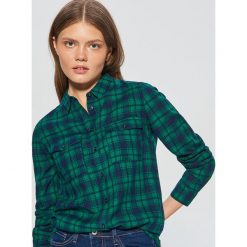 Koszula w kratę - Zielony. Zielone koszule wiązane damskie Cropp, l. Za 49,99 zł.