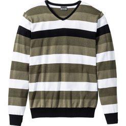 """Swetry męskie: Sweter """"Slim fit"""" bonprix oliwkowo-biało-czarny w paski"""