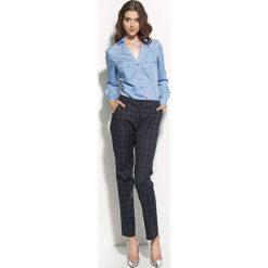 """Niebieska Koszulowa Bluzka z Dekoltem """"V"""". Niebieskie bluzki damskie Molly.pl, l, biznesowe, dekolt w kształcie v, z długim rękawem. Za 99,90 zł."""