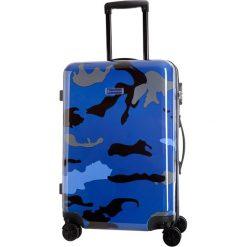 Walizka w kolorze niebieskim ze wzorem - 44 l. Niebieskie walizki Platinium, z materiału. W wyprzedaży za 239,95 zł.